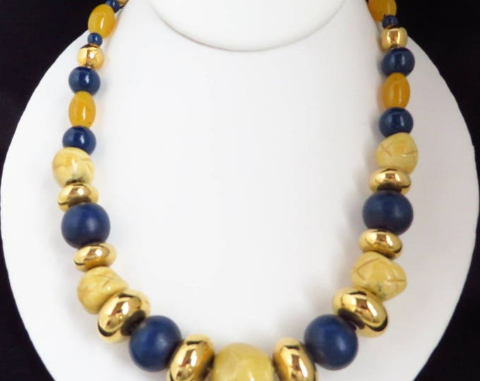 Multicolor Chunky Beaded Necklace, Vintage Blue, Cream, Gold Tone Tribal Necklace