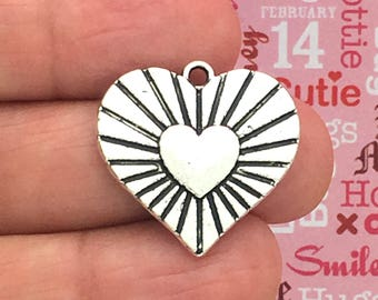 5 Silver Heart Charm Pendant 23x24mm by TIJC SP0582