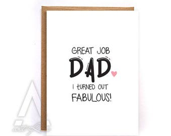 """funny Fathers day card from daughter, """"great job dad"""" fathers day card from kids, gift for him, greeting cards, dad birthday card GC234"""