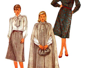 Vintage 1980s Sewing Pattern Simplicity 6676 Phyllis Sidney Womens' Cape, Skirt And Blouse