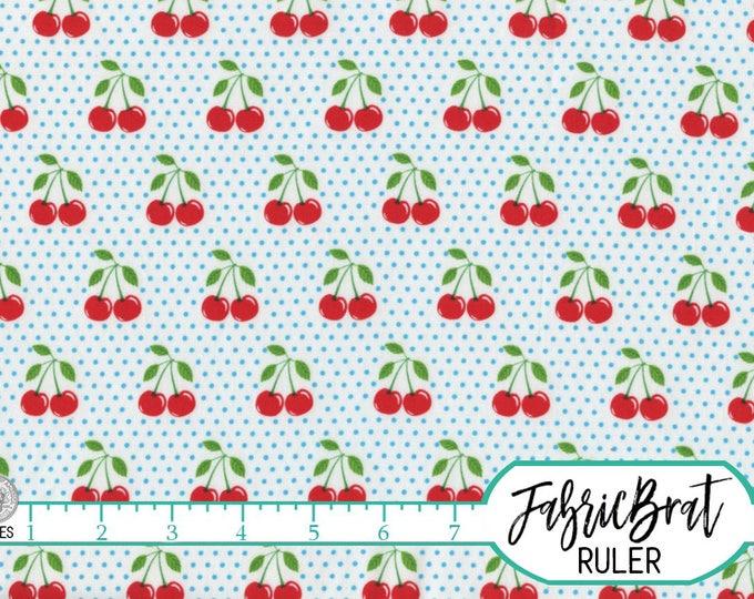 RETRO CHERRY U0026 DOTS Fabric By The Yard, Fat Quarter Red Cherries Blue Polka  Dots