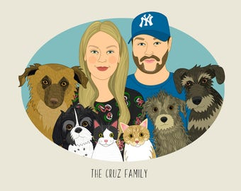 Custom portrait. Personalized family drawing. Couple portrait. Gift for boyfriend. Gift for animal lovers. Pet lovers. Gift for girlfriend.