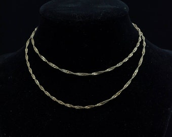 """Vintage Sterling Silver 24"""" x 1/8"""", Gourmette or Curb Chain, .925, 5.2g, IBB"""
