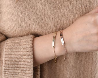 Personalized bracelet,Custom bar bracelet,Gold bar bracelet,Rose Gold Bar Bracelet,mothers day  gifts jewelry,Bridesmaid Gifts,ID bracelet