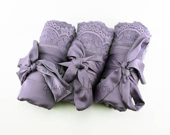Lilac Charmeuse Satin Robe with lace trim-Bride Bridesmaid Flowergirl -Monogrammable- regular, plus and children's sizes