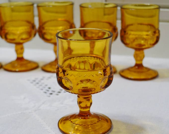 Vintage Amber Kings Crown Glass Set of 6 Cordial Juice Small Goblet Indiana Glass Co PanchosPorch