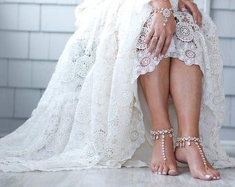 Faith Gold Barefoot Sandals Rhinestone Foot Jewelry Gold Anklet Destination Wedding Sandals Barefoot Bride Boho Bride Boho wedding Shoes