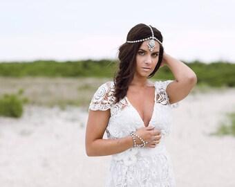 Leah Hair Jewelry Bridal Head Chain Bridal Headwear Bridal jewelry Bridal Head Chain Rhinestone Head Jewelry Boho Bride Silver Head Chain