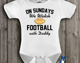 Football baby clothes,Football with daddy,Fantasy football shirt,Sunday Funday,Football baby shower,Football bodysuit,Football season,GBS115