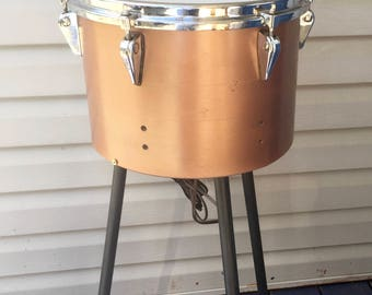 Accent Lighting Lamp REAL VINTAGE Remo DRUM Converted Repurposed With Removable Legs.