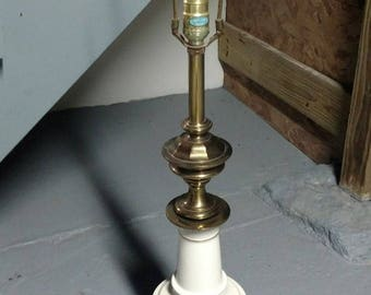 Vintage Mid Century Modern Stiffel Table Lamp Brass and Porcelain Hollywood Regency 1960's