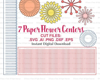 Paper Flower Centers SVG File - Stamen cutting files for Paper Flower Making, Paper Flower Template, Wedding Decor, Wall Decor, Scrapbooking