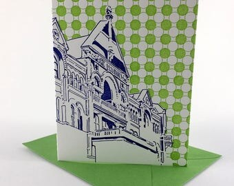 Austin Letterpress Card | Driskill Hotel | royal blue & green single blank card with envelope