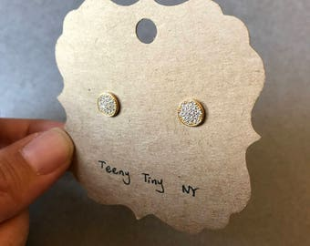 Gold Tiny Mini CZ Circle Stud Earrings - Gold Plated Over Sterling Silver