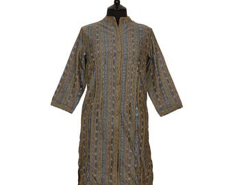 IKAT TUNIC – All sizes – Steel Grey with Gold – 100% cotton