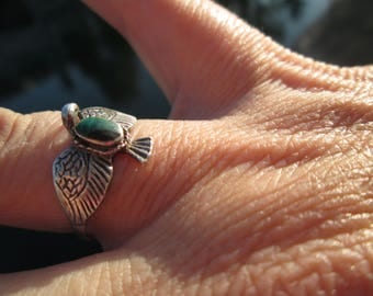 Malachite and Sterling Silver Raven Ring Size 8