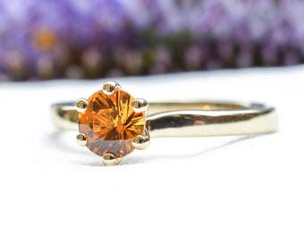 Natural Unheated Yellow Sapphire Solitaire in 9ct Yellow Gold *Free Worldwide Shipping*