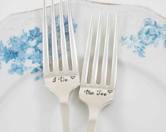 Wedding Forks, I Do Me Too Forks, I Do Forks, Forks with Date, Wedding Decor, Table Settings,  Wedding Cake Forks, Personalized Wedding Gift