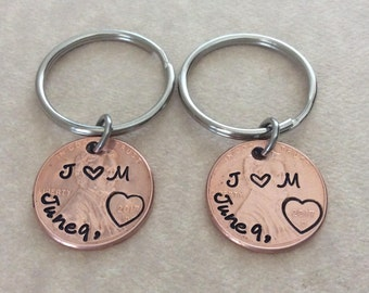 Two personalized pennies, Handstamped Wedding, Anniversary, couples keychains