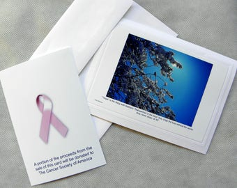 """CANCER Support Card designed and produced by Pam Ponsart contains a message of """"HOPE"""" by Emily Dickinson"""