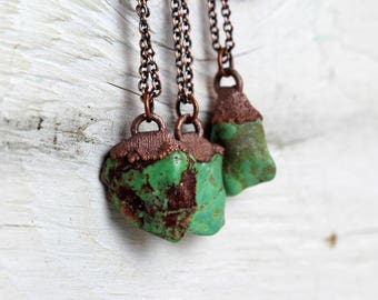 Turquoise Necklace  Electroformed Necklace Green Turquoise Stone Pendant Rustic Copper Necklace Real Turquoise Jewelry