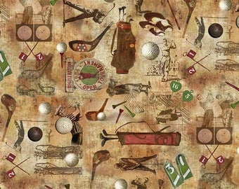 Golf Fabric - Preorder, Due Early November - Golf Motif, Golfer, Vintage Golf  - Timeless Treasures C 6004 Coffee - Priced by the Half yard