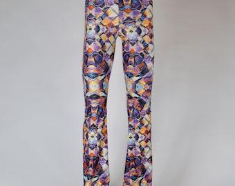 Psychedelic Kaleidoscope Men's Flare Pants // Sacred Geometry // Burning Man Festival Clothing // Men's Legging
