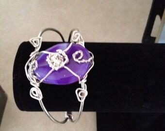Purple Beaded Cuff Wired Bracelet
