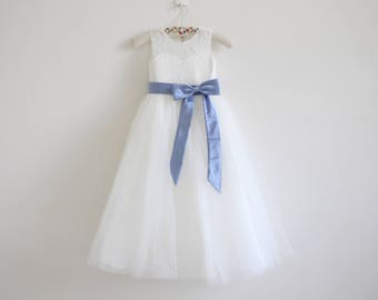 Light Ivory Flower Girl Dress Blue Baby Girl Dress Lace Tulle Ivory Flower Girl Dress With Mineral Blue Sash/Bows Sleeveless