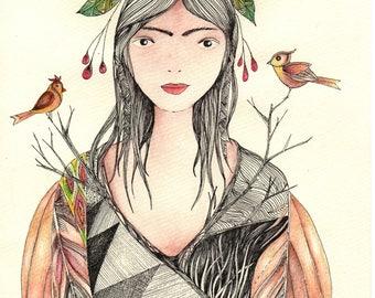 fairy No 3, water color print