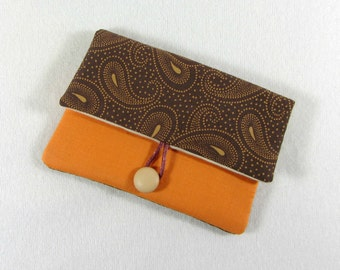 Cellphone sleeve , fabric phone cover, orange and brown i phone case ,cotton cachemire case, phone wallet