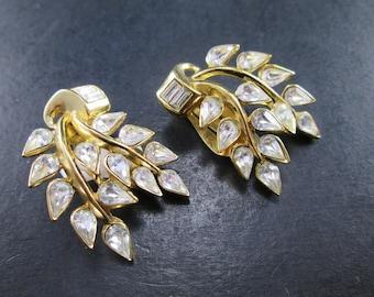 Vintage Crown Trifari Rhinestone Gold Tn Branch & Leaf Earrings Clip On Mid Century Signed
