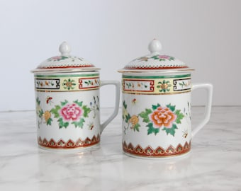 Porcelain Chinese Covered Tea Cup Set - Lidded Tea Cup - Chinese Cup