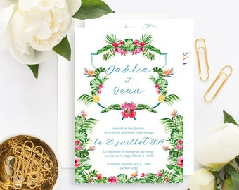 Tropical Wedding invitation with white envelope - Wedding invitation - Floral Tropical Wedding - Tropical leaf Invitation - Pineapple Exotic