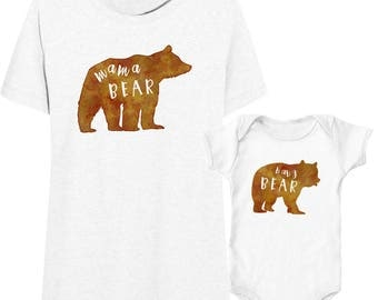 Mama Bear Baby Bear Mommy & Baby Shirts | Mommy and Me Shirt Outfits | Mother and Daughter Matching T-Shirts | Mother Son T-Shirts