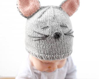 Little Mouse Baby Hat KNITTING PATTERN - knit mouse hat pattern for babies, infants, toddlers - sizes 0-3 months, 6 months, 12 months, 2T+