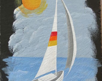 Painted SAILBOAT SLATE