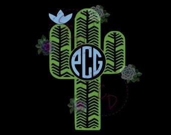 Monogram Cactus Two Color Decal, Cactus Car Decal, Cactus Decal with Monogram, Cactus Vinyl Decal, Cactus Laptop Decal, Cactus Yeti Decal