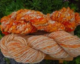 Handspun Yarn, Handspun art yarn, Chunky Yarn, Hand Painted Yarn, Thick & Thin Yarn, 145 Yards: GLOW