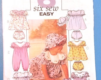 Butterick 4110 - Easy Infants' Dress, Panties, Jumpsuit, and Hat Pattern - Baby Clothes Pattern - Small, Medium, Large, and Extra Large