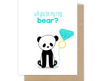 Ring Bearer Card Will You Be My Ring Bear Funny Panda Pun Proposal For Boy Girl Child Cute Sweet Fun Bridal Party Handmade Greeting Cards
