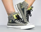 Vintage 90s Converse Grey with Black  Lime Green Camo Print HiTops Trainers Sneakers Label Size UK 7 EU 40 US Mens 7 Womens 9 cm 25.5