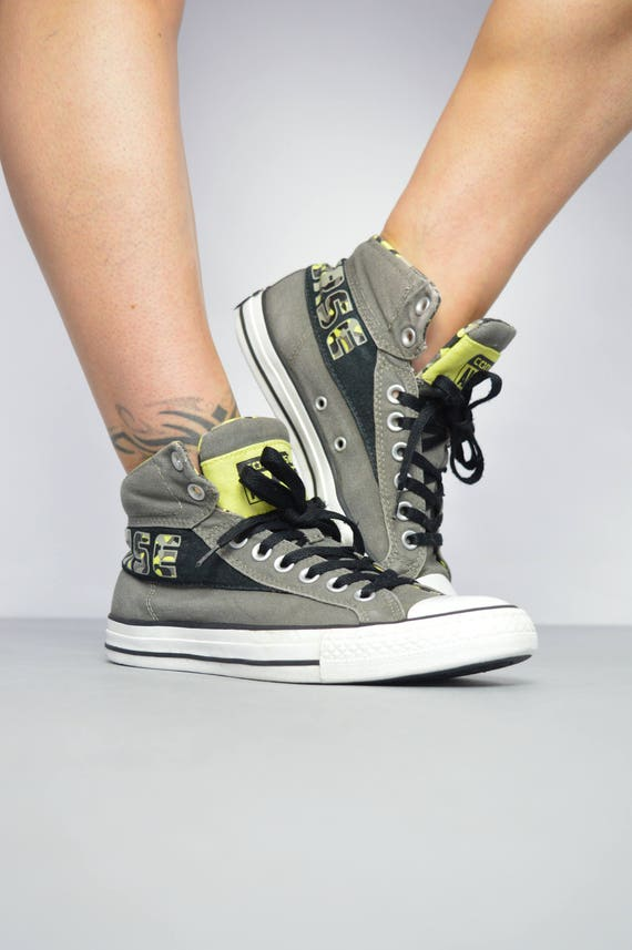 d89fd40f6383 Vintage 90s Converse Black Fleece Lined Leather Hi-Tops Trainers Sneakers  Chuck Taylor All Star