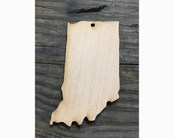 Wood Indiana Ornament State Tree Ornament Laser Cutout Christmas