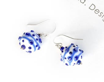 Blue and White - Lampwork Earrings - Glass Earnings - Silver Earrings - Murano Glass Earrings