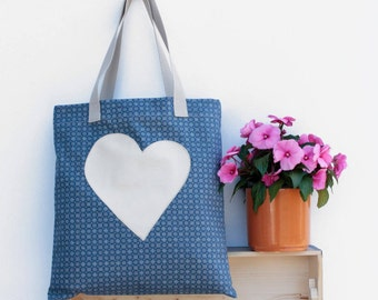 Canvas tote with a white heart - Blue tote bag - Blue shopping bag - Blue beach bag - Blue shopper bag -  Blue fabric tote