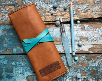 Pencil holder Pen holder Leather pen case Leather pencil case  Roll Case Leather roll holder