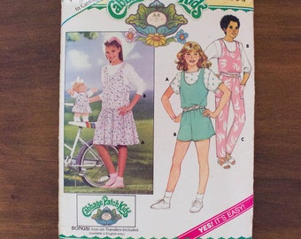 1986 Butterick 3717 Cabbage Patch Kids Girl's Jumper/Jumpsuit/Top/Transfer Pattern- Size 4,5,6- Uncut