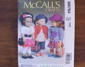 "McCall's Crafts M6764 Laura Ashley 3 Outfits for 18"" Dolls- American Girl Doll Clothes Pattern- Uncut"