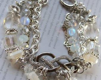 bracelet, chalcedony bracelet, opalite bracelet, white bracelet, bohemian bracelet, christmas for her, gifts for her, artisan bead